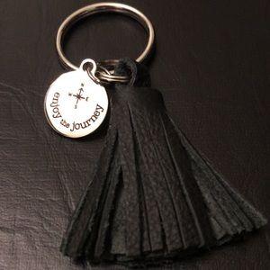 Leather tassel diffuser key chain